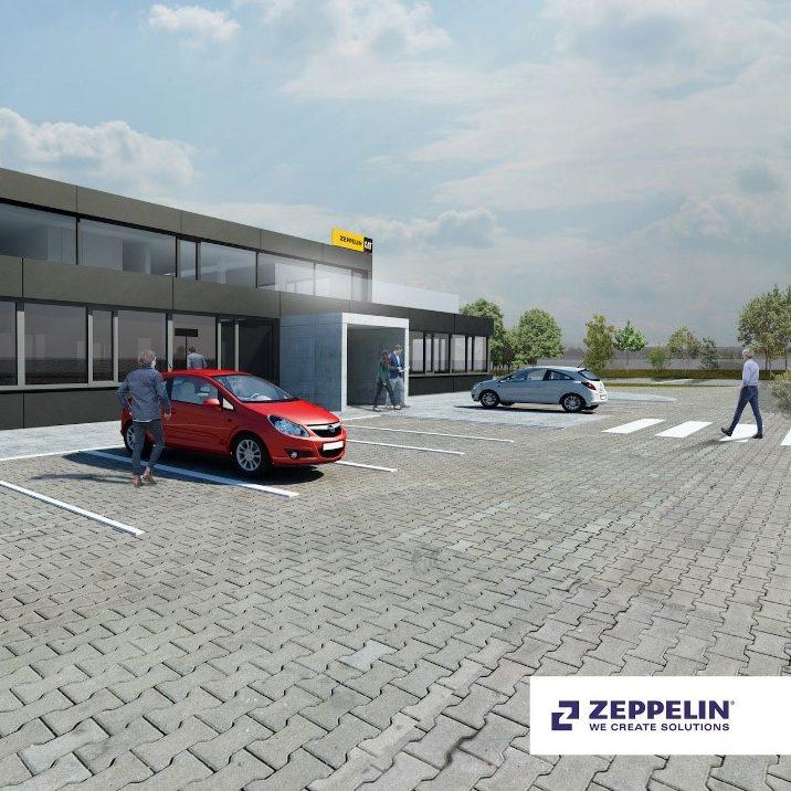 Blick auf die Visualisierung des Neubaus für Zeppelin SK